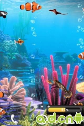 会游动的鱼壁纸_海洋鱼类动态壁纸应用安卓手机,最珊瑚树为背景的。鱼品种2一3 ...